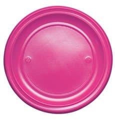 Assiette Plastique PS Plate Fuchsia Ø220mm (30 Unités)