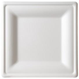 Assiette Carrée Canne à Sucre Blanc 160x160mm (50 Unités)