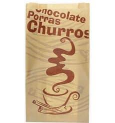 """Sachet à Churros """"Chocolat"""" Kraft  22+11x36cm (250 Utés)"""