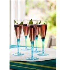 Flûte Champagne Plastique Turquoise 100ml (72 Unités)
