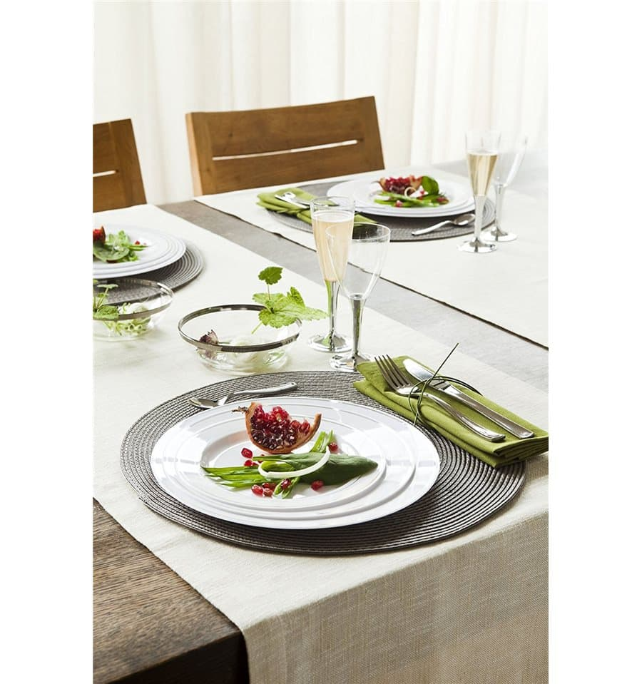 assiette en plastique dur avec liser argent 23cm 20 ut s. Black Bedroom Furniture Sets. Home Design Ideas