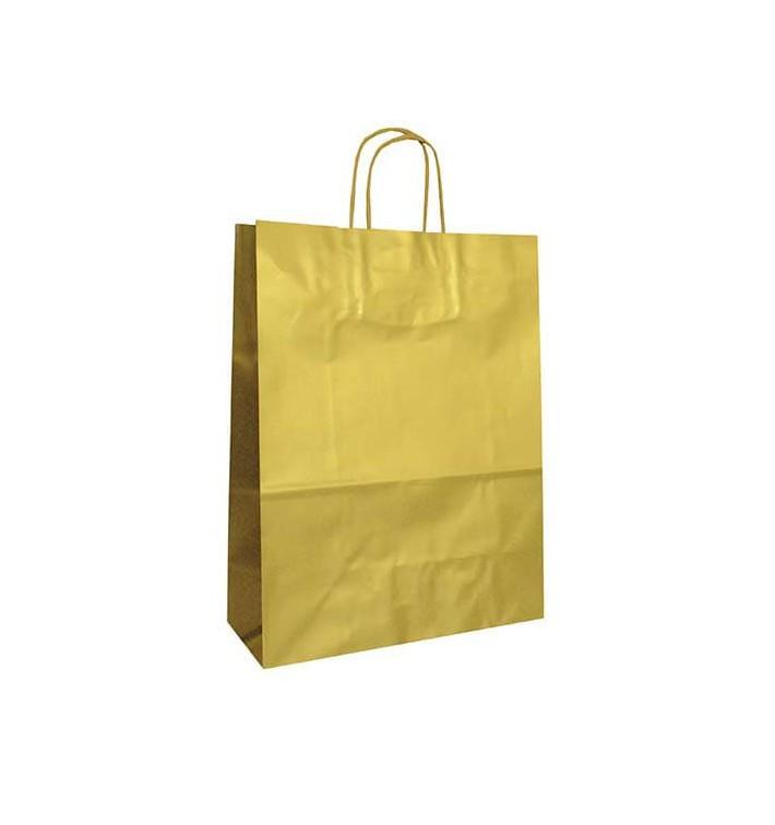 Sac en Papier KRAFT OR avec anses 100g 32+12x41cm (50 Utés)