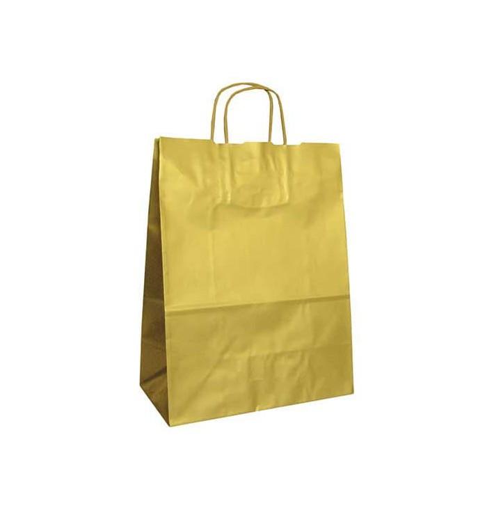 Sac en Papier KRAFT OR avec anses 100g 24+12x31cm (250 Utés)