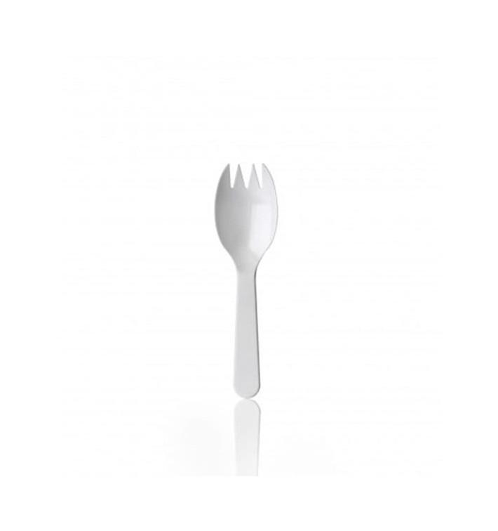 Fourchette Plastique SPORK Blanche 98mm (1000 Unités)