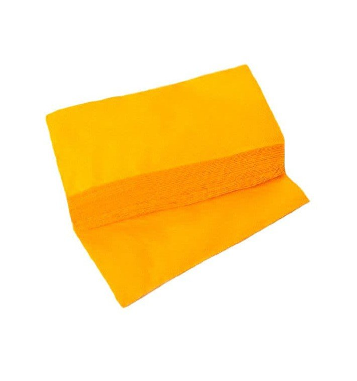 Serviette Papier Molletonnée 1/8 40X40 Jaune (50 Unités)