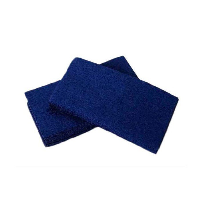 Serviette Papier Molletonnée 1/8 40X40 Bleu (50 Unités)