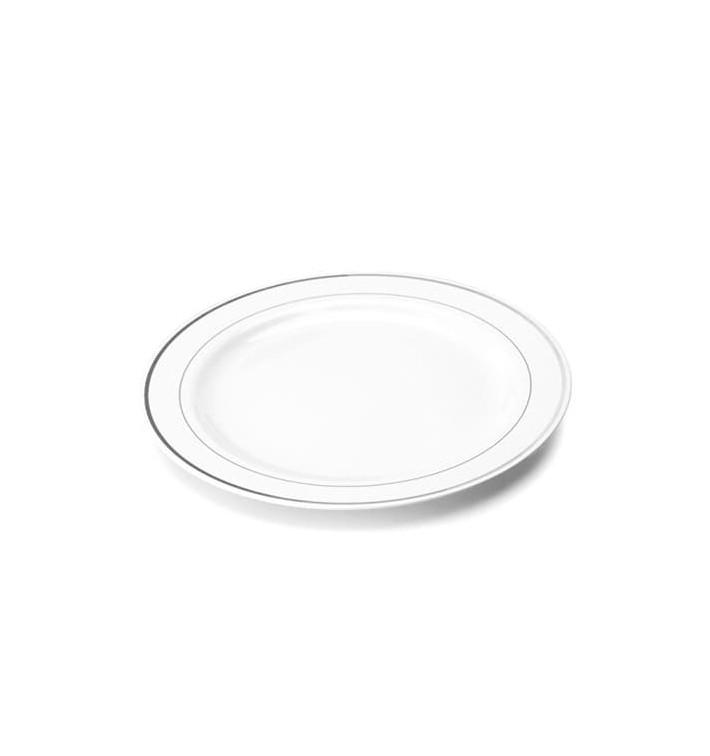 Assiette en Plastique Dur avec Liseré Argent 15cm (200 Utés)