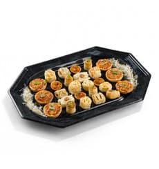 Assiette Rectangulaire en plastique dur Noir 17x45 cm (5 Utés)