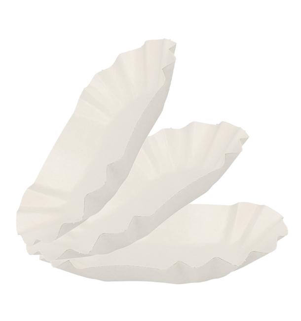 Barquette en Carton Ovale Plastifiée 16,5x10x3,5cm (1.000 Utés)