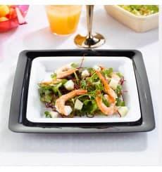 Assiette carrée en plastique dur Noir 23x23 cm (20 Utés)