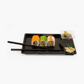 Plateau Sushi avec Baguettes Noir 260x160mm (12 Unités)
