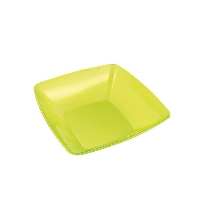 Bol Plastique carré Vert 14x14cm (60 Unités)