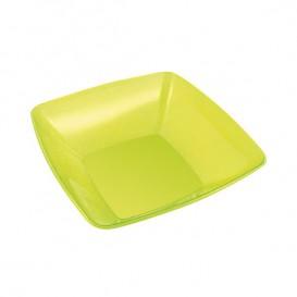 Bol Plastique carré Vert 14x14cm (4 Unités)