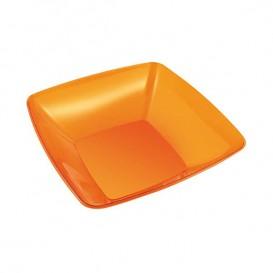 Bol Plastique carré Orange 14x14cm (4 Unités)