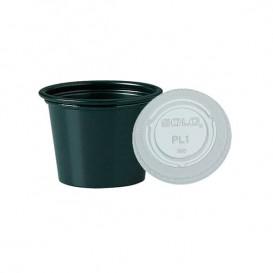 Pot à sauces Noir en plastique avec Couvercle 30ml (2.500 Utés)
