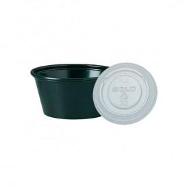 Pot à sauces en plastique Noir avec Couvercle 60ml (2.500 Utés)