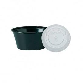 Pot Noir avec Couvercle Transparent 100ml (2500 Unités)