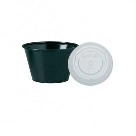 Pot à sauces en plastique Noir avec Couvercle 120ml (2.500 Unités)