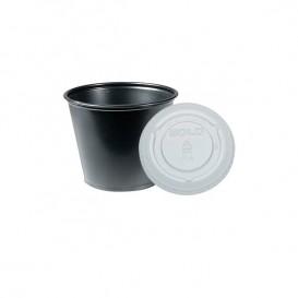 Pot à sauces en plastique Noir avec Couvercle 165ml (2.500 Unités)
