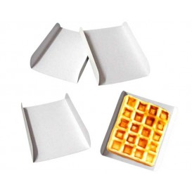 Emballage blanc pour gaufre 15x13x2 cm (2000 Unités)