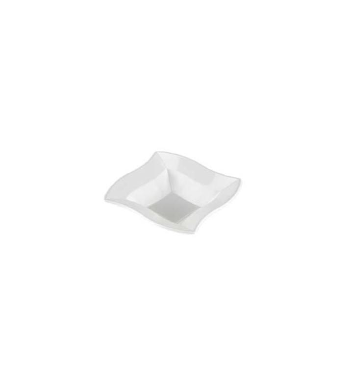Bol carré ondulé en plastique blanc 18cm (360 Utés)