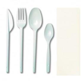 Kit  Fourchette, petite et grande Cuillère, Couteau e Serviette (500 Utés)