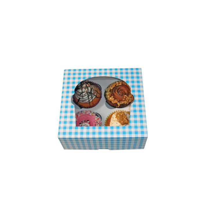 Boîte pour 4 Cupcakes Bleu avec insert (140 Unités)