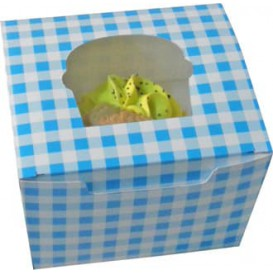 Boîte pour1 Cupcake Bleu avec insert (200 Unités)