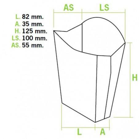 Etuis à Frites Moyen 8,2x3,5x12,5cm (50 Utés)