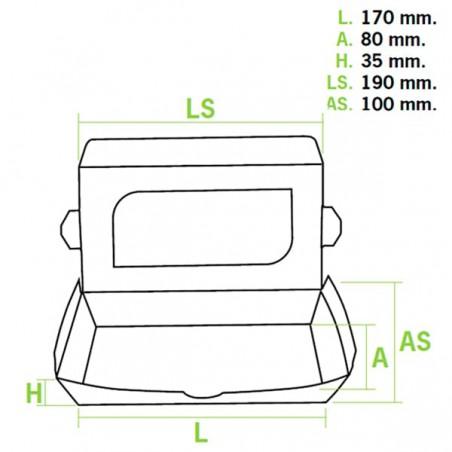 Barquette kraft écologique 19x10x3,5cm 480ml (400 Utés)