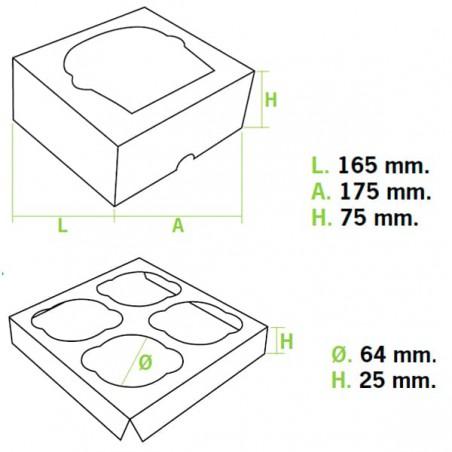 Boîte pour 4 Cupcakes Rose avec insert (20 Unités)