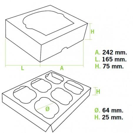 Boîte pour 6 Cupcakes Bleu avec support (100 Unités)