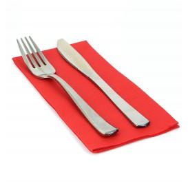 Serviette en papier molletonnée 1/8 40X40 ROUGE  (50 Unités)