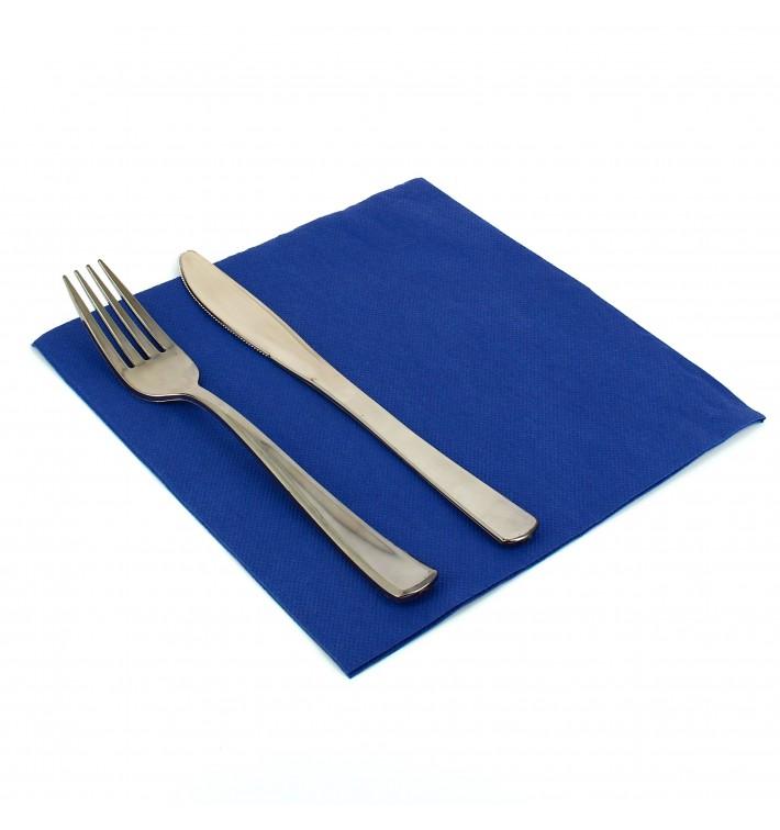 Serviette Papier Molletonnée 40X40 Bleu (50 Unités)