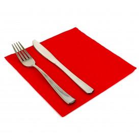 Serviette en Papier molletonnée 40x40 Rouge (50 Unités)