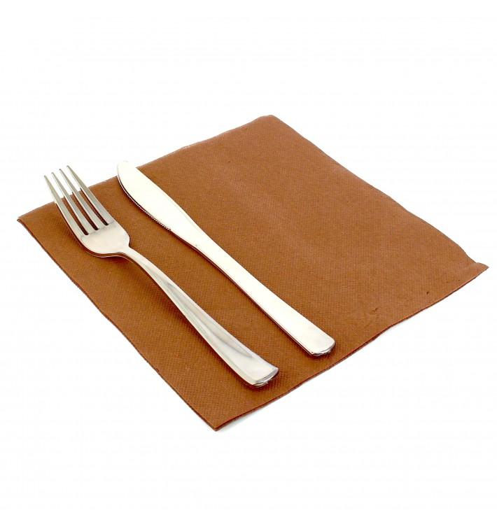 Serviette en papier molletonnée 40X40 Marron (1.200 Utés)