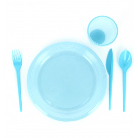 Cuillère plastique Bleu de 165mm (15 Unités)
