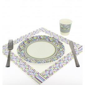 Assiette carton décorée 23cm (8 Unités)