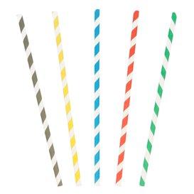 Paille Droite Papier Ø6mm 20cm couleur rayé (10000 Utés)