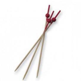 Pique en Bambou décoré d'une boule rouge 90mm (10000 Unités)