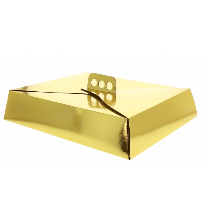 Boîte Carton Or métallisé pour Tarte 26,5x35,5x8 cm (50 Utés)