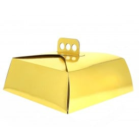 Boîte Carton Or métallisé pour Tarte 27x27x10 cm (50 Utés)
