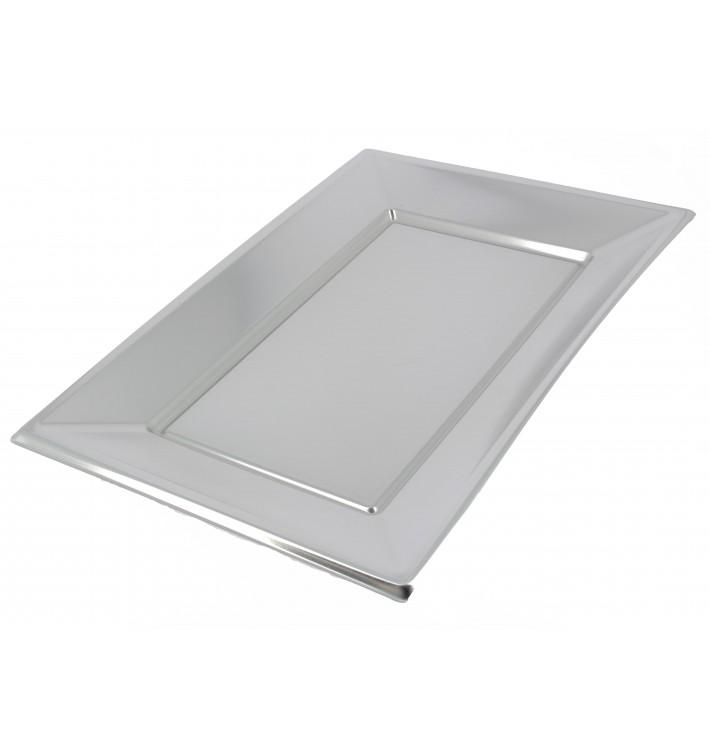 Plateau Plastique Argenté rectang. 330x 230mm (12 Utés)