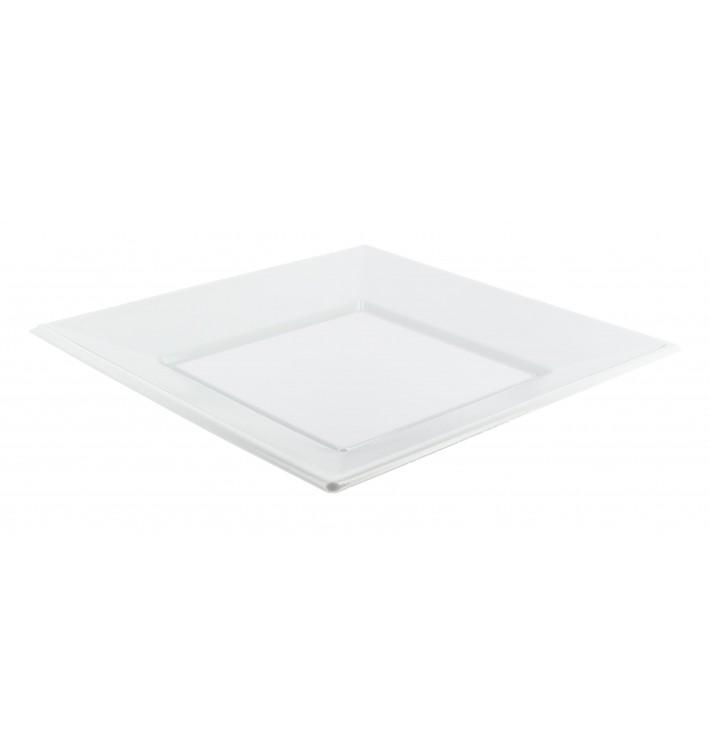 Assiette Plastique Carrée Plate Blanche 170mm (6 Unités)
