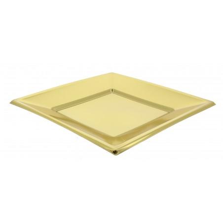 Assiette Plastique Carrée Plate Dore 180mm (375 Utés)