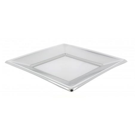 Assiette Plastique Carrée Plate Argenté 180mm (25 Utés)