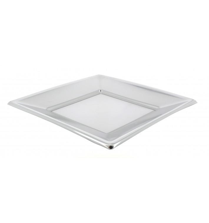 Assiette Plastique Carrée Plate Argenté 180mm (300 Utés)