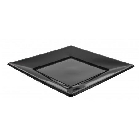 Assiette Plastique Carrée Plate Noire 230mm (25 Unités)