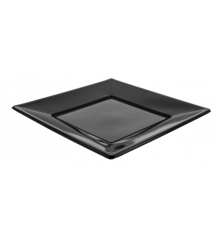 Assiette Plastique Carrée Plate Noire 230mm (750 Unités)