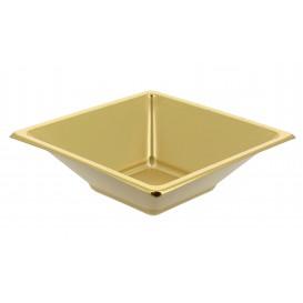 Bol carré en plastique doré 120x120x40mm (150 Utés)
